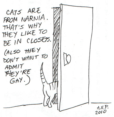 cat in the closet from narnia, also gay comic